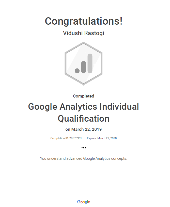 Google Analytics Individual Qualification Vidushi Rastogi