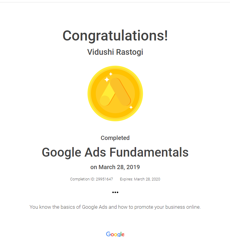 Google Ads Fundamentals Certification Vidushi Rastogi
